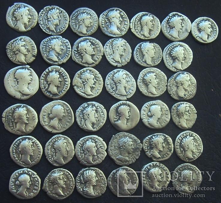 Монеты Древнего Рима (денарии) 37 штук., фото №2