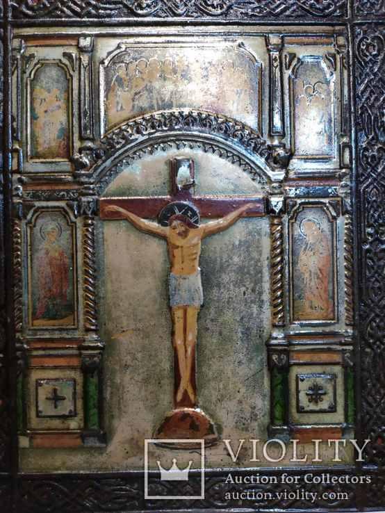Икона Господа Иисуса Христа со святыми, XIX век, позолота, посеребрение, эмали, фото №2