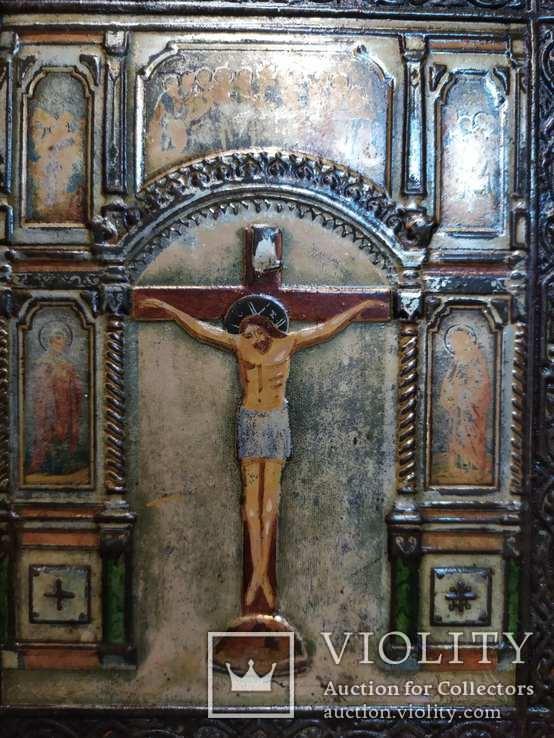 Икона Господа Иисуса Христа со святыми, XIX век, позолота, посеребрение, эмали, фото №3