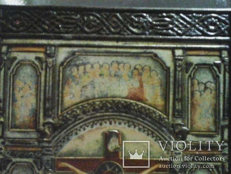 Икона Господа Иисуса Христа со святыми, XIX век, позолота, посеребрение, эмали, фото №5