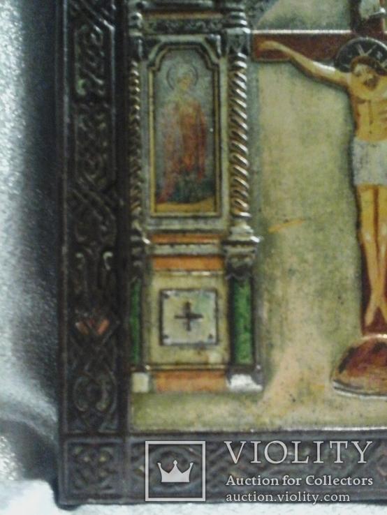 Икона Господа Иисуса Христа со святыми, XIX век, позолота, посеребрение, эмали, фото №7
