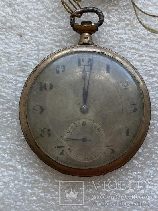 Винтажные швейцарские карманные часы в позолоте, фото №3