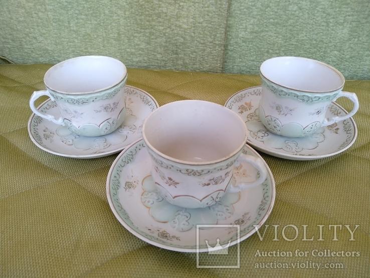 3 чайные пары чашки и блюдца Дулево 1960 год, фото №2