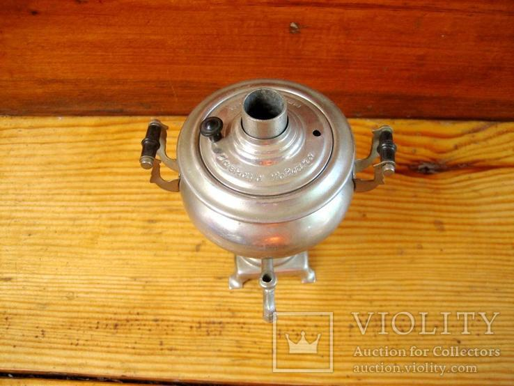 Старий сувенірний самовар з іноземним написом на кришці., фото №4