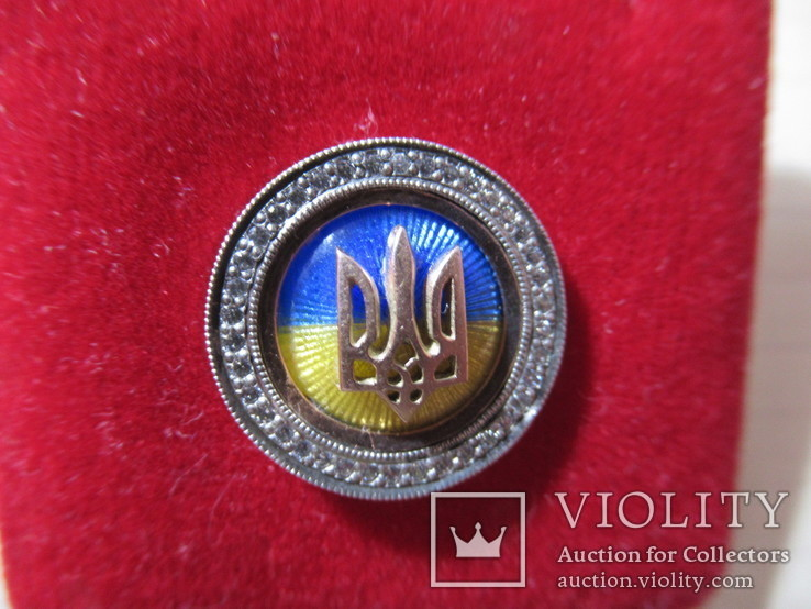 Серебряный значок с флагом и гербом Украины, фото №2