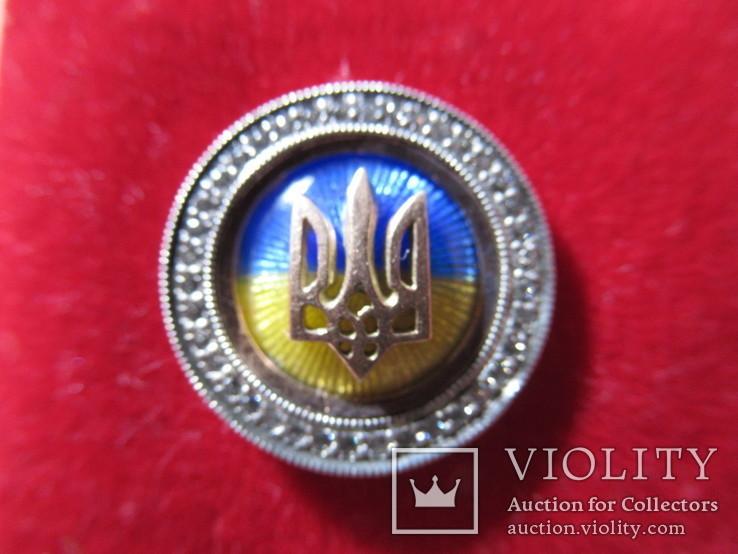 Серебряный значок с флагом и гербом Украины, фото №3