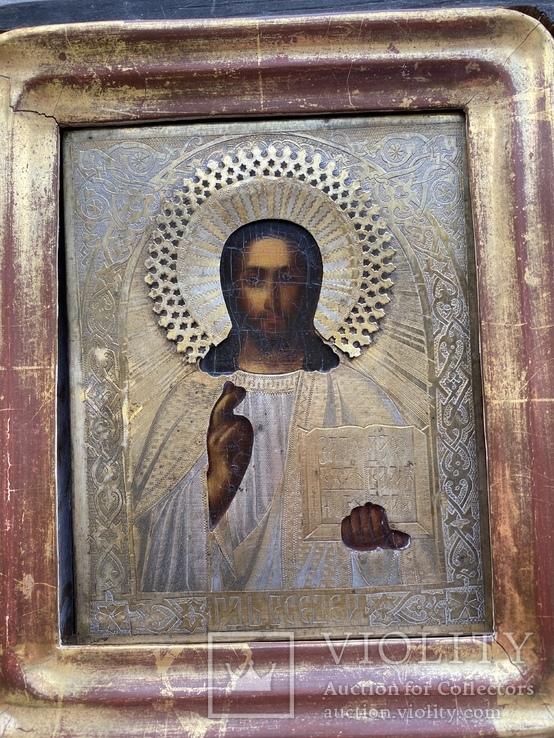 Икона Вседержитель в бронзовом окладе, серебрение, золочение, фото №6