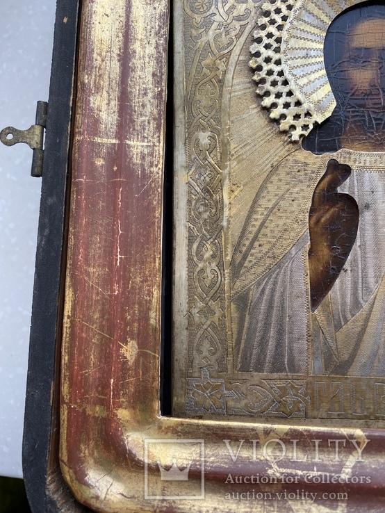 Икона Вседержитель в бронзовом окладе, серебрение, золочение, фото №7