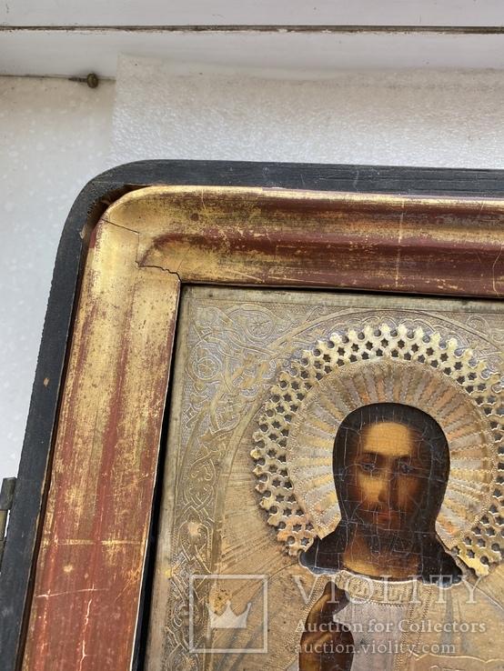 Икона Вседержитель в бронзовом окладе, серебрение, золочение, фото №10