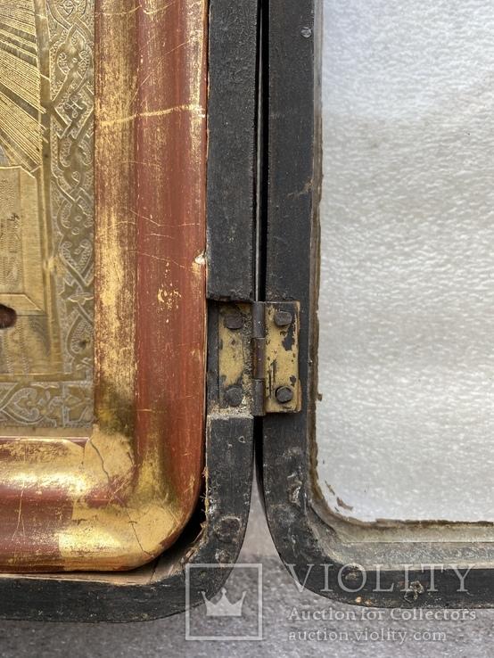 Икона Вседержитель в бронзовом окладе, серебрение, золочение, фото №11