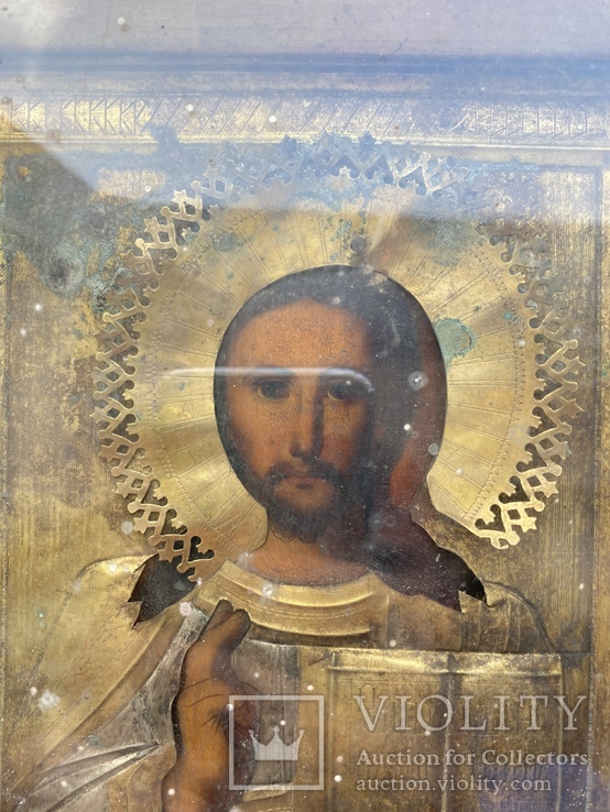 Икона Вседержитель в бронзовом окладе, серебрение, золочение, фото №3