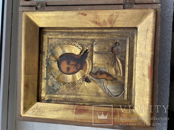 Икона Вседержитель в бронзовом окладе, серебрение, золочение, фото №5