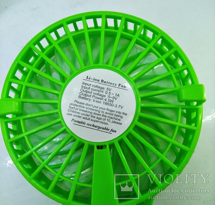 Вентилятор ручной аккумуляторный мини с ручкой USB диаметр 10см Handy Mini Fan, фото №6