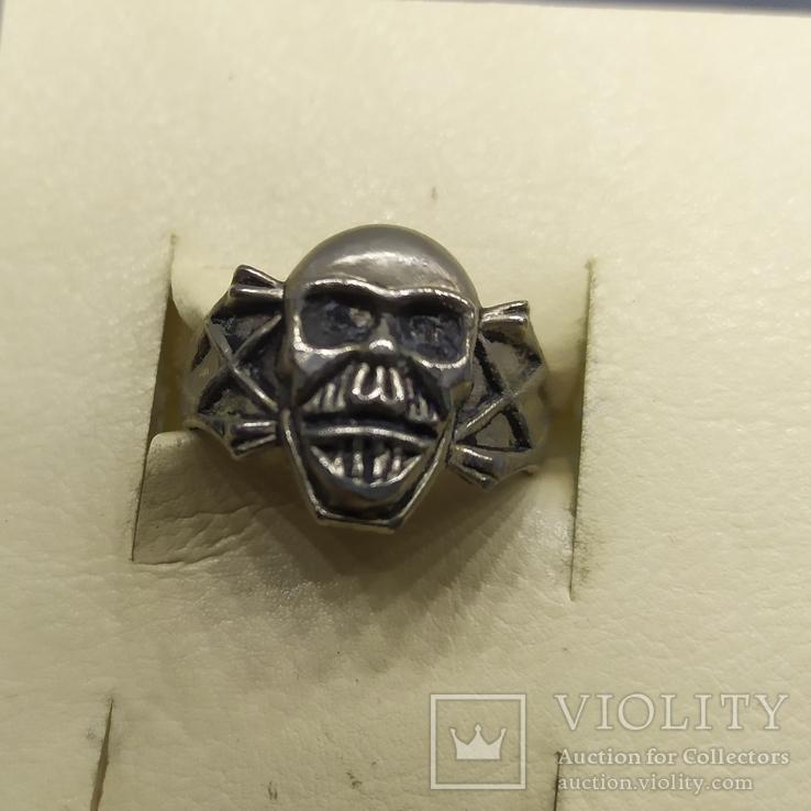 Кольцо с черепом. байкер, фото №3