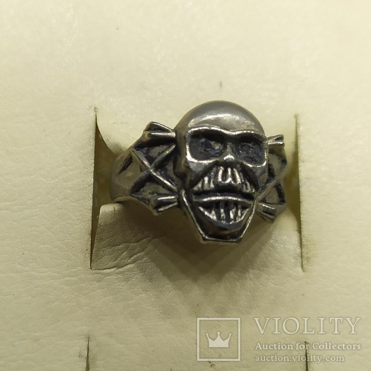 Кольцо с черепом. байкер, фото №2