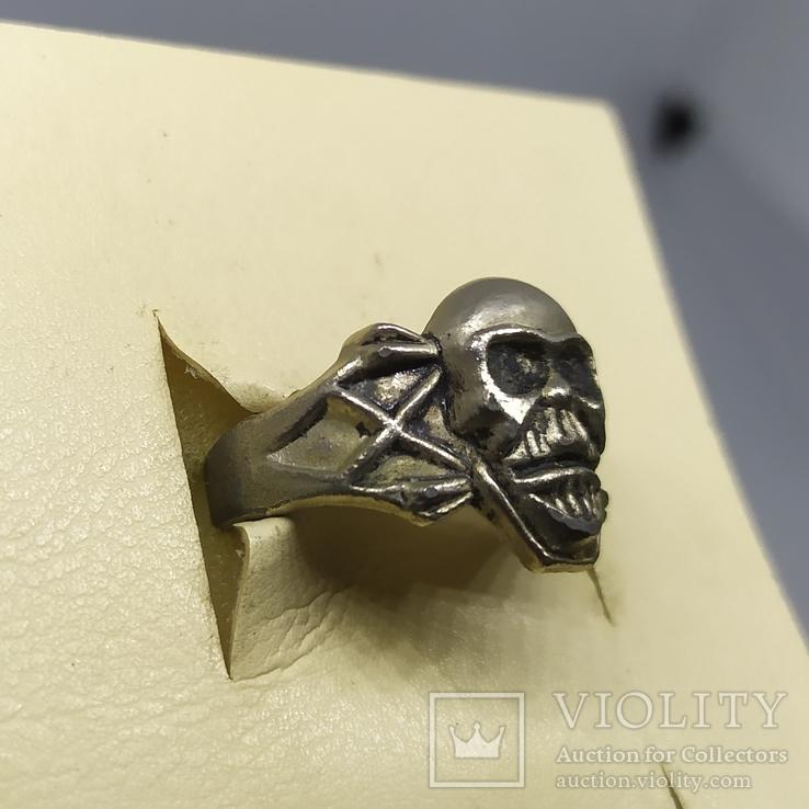 Кольцо с черепом. байкер, фото №4