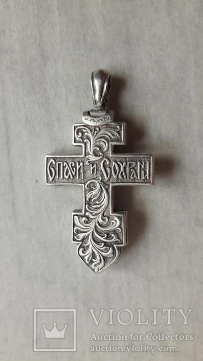 Крест мощевик , серебро, фото №13