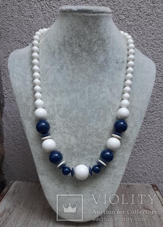Бусы  винтажные бело-синие 63 см,Яблонекс, фото №3