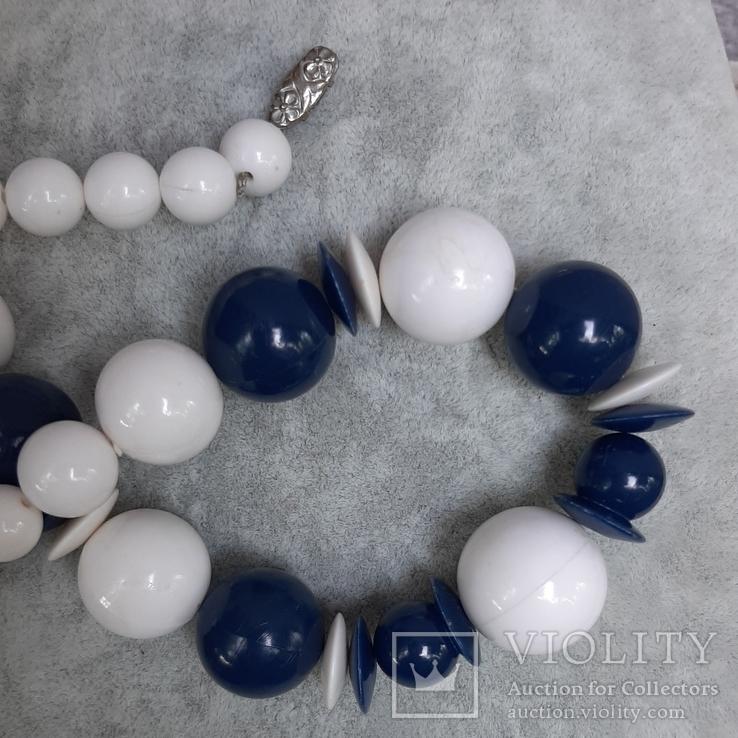 Бусы  винтажные бело-синие 63 см,Яблонекс, фото №8