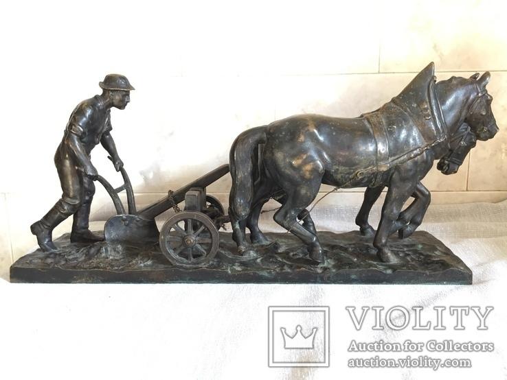 Сложносоставная бронзовая композиция «Пахарь», фото №2