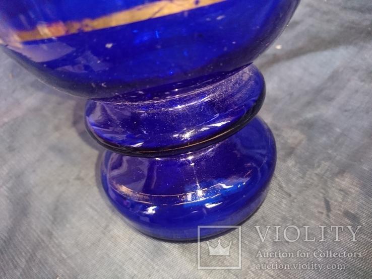 Ваза синее стекло.Богемия? 31,5 см., фото №8
