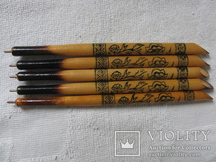 Ручки деревянные с Украинским орнаментом цветов, 5 шт., фото №5