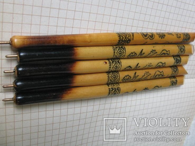 Ручки деревянные с Украинским орнаментом цветов, 5 шт., фото №8