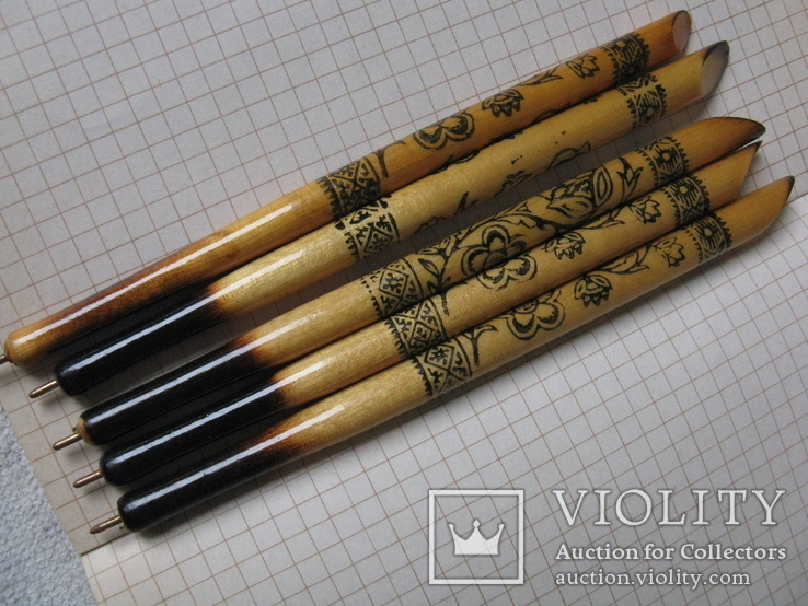 Ручки деревянные с Украинским орнаментом цветов, 5 шт., фото №2