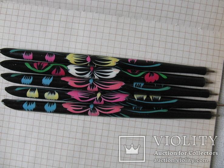 Ручки деревянные с цветным орнаментом, 5 шт., фото №2