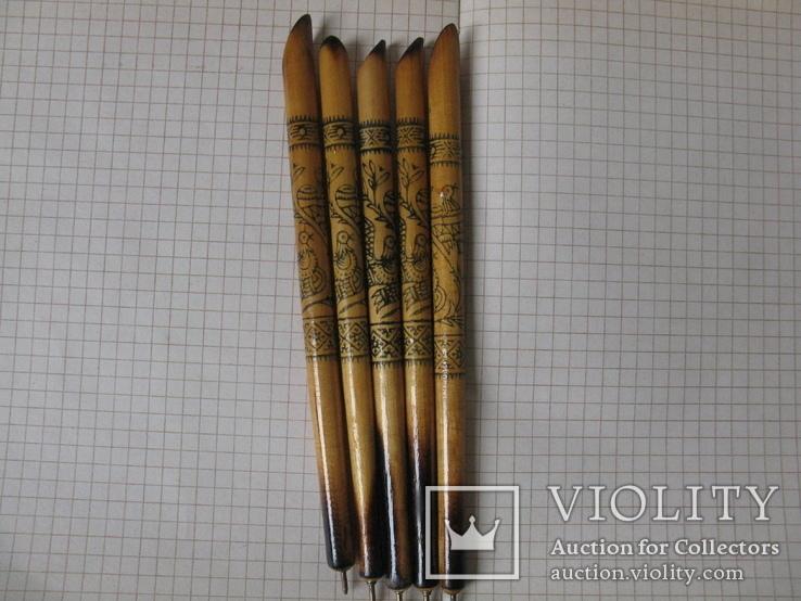 Ручки деревянные с Украинским орнаментом, 5 шт., фото №4