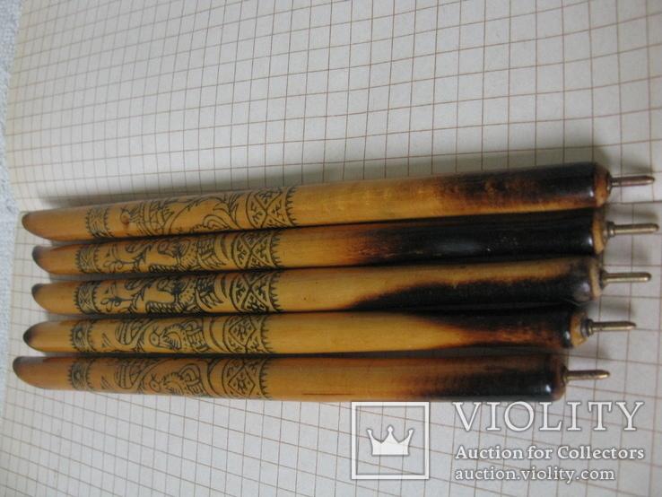 Ручки деревянные с Украинским орнаментом, 5 шт., фото №3