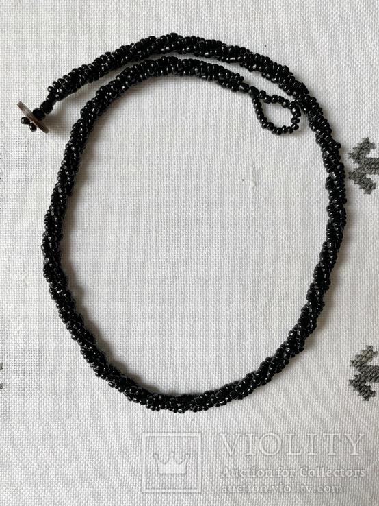 Намисто бісерне чорне, фото №3