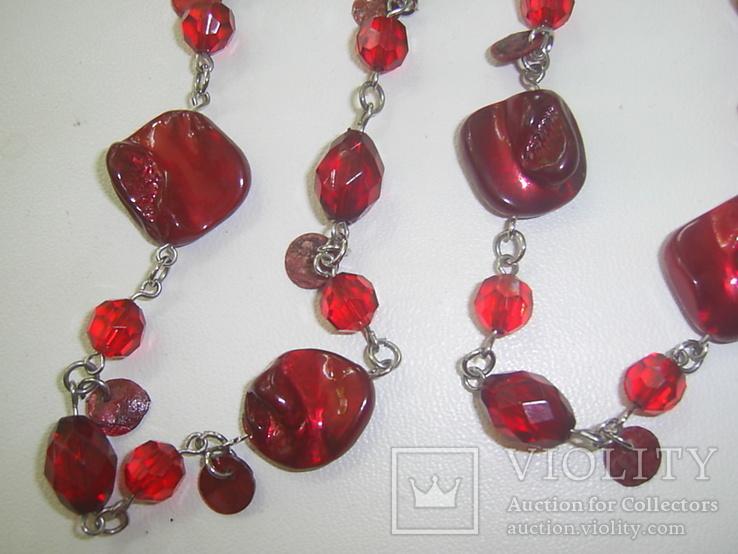 Бусы рубинового цвета, фото №4