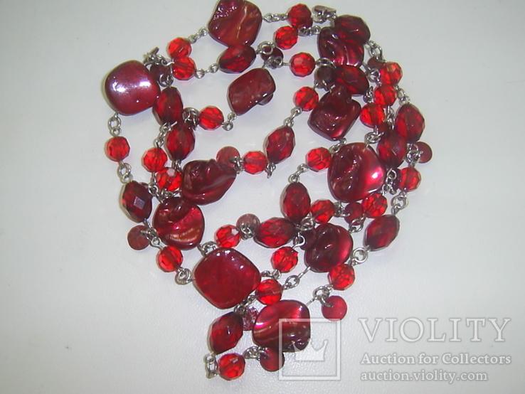 Бусы рубинового цвета, фото №6