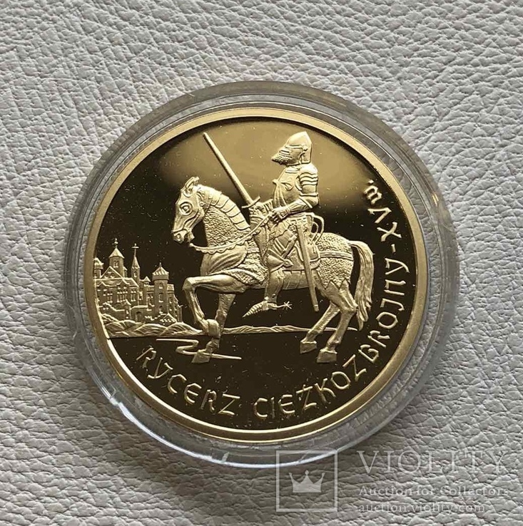 200 злотых 2007 год Польша золото 15,50 грамм 900', фото №3