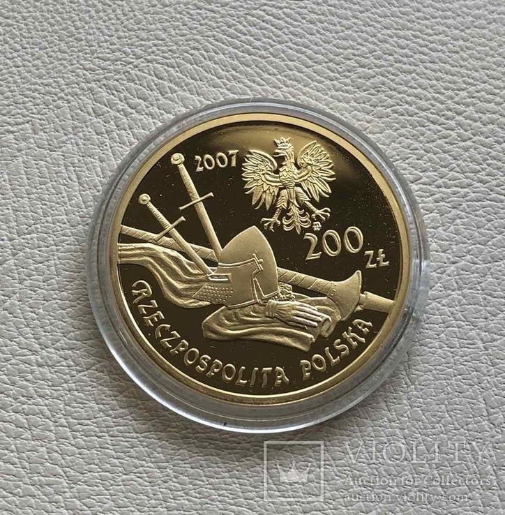 200 злотых 2007 год Польша золото 15,50 грамм 900', фото №4