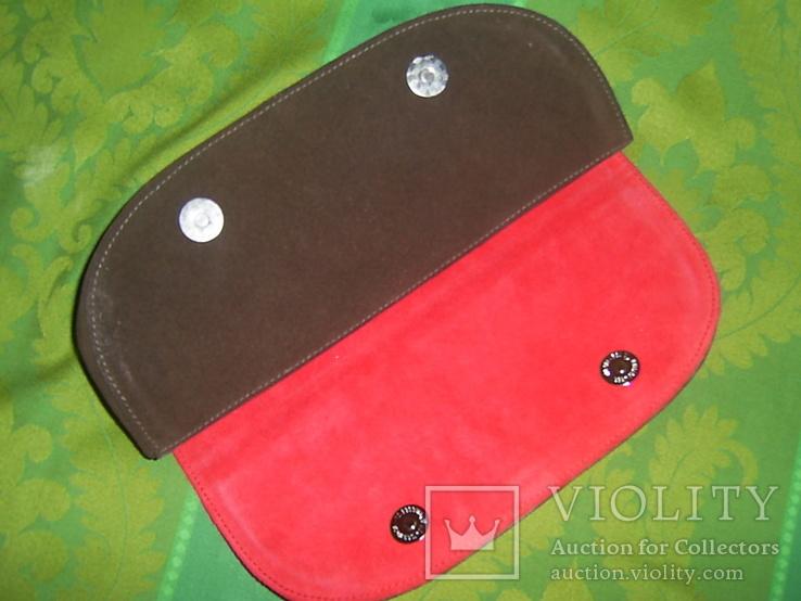 Клатч из натуральной замши и кожи с тиснением, фото №8