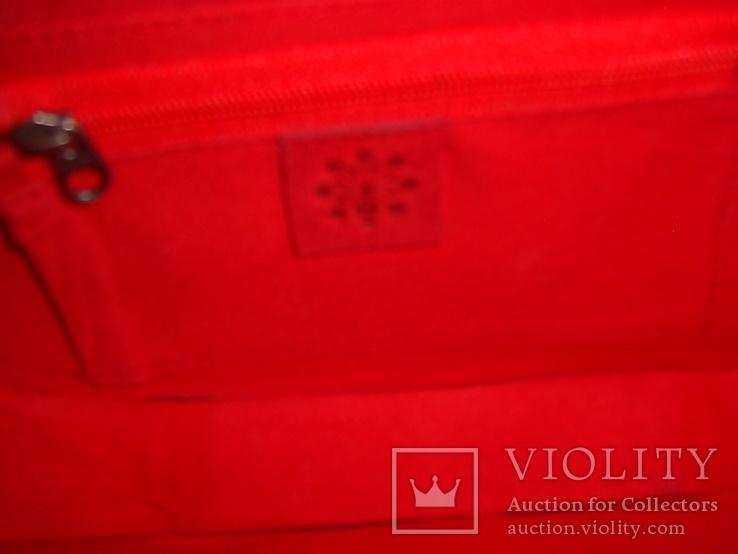Клатч из натуральной замши и кожи с тиснением, фото №10