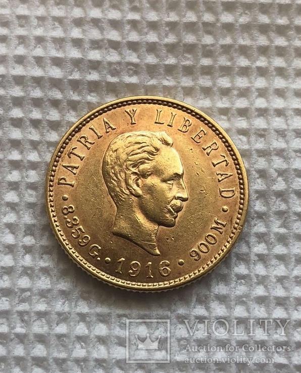 Куба 5 песо 1916 год 8,35 грамм золота 900'