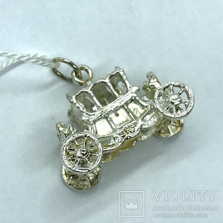 Кулон карета серебро, фото №2