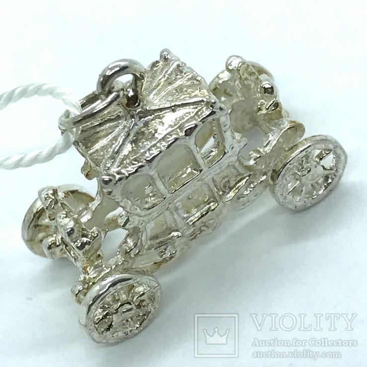 Кулон карета серебро, фото №3