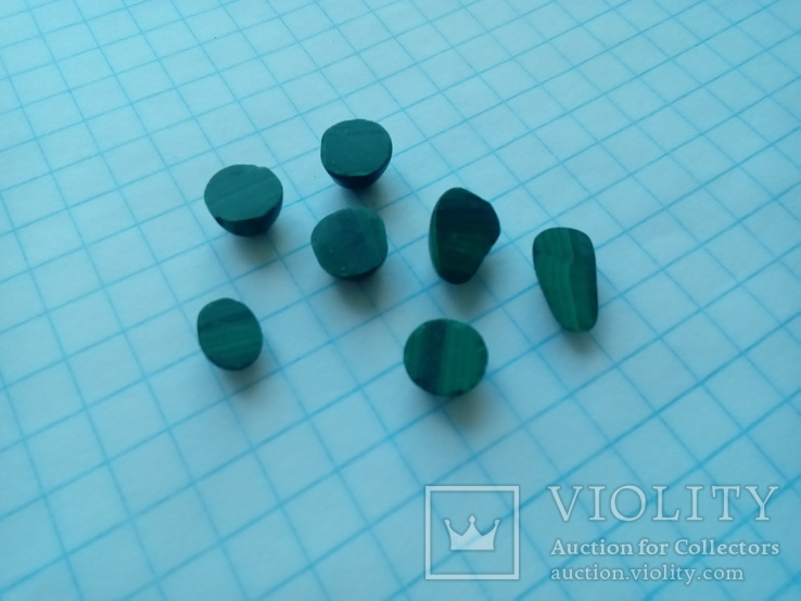 Малахіт природний Уральський камінь 7 шт., фото №7