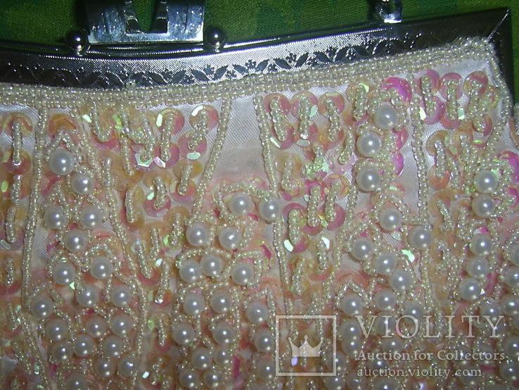 Сумочка розовая расшитая бусинами.бисером и пайетками, фото №5