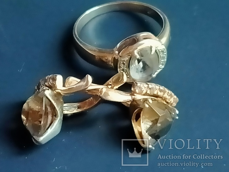 Золотой гарнитур. Серьги и кольцо., фото №2