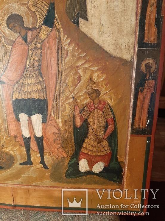 Икона Поклонение Архангелу Михаилу конец 17 начало 18 века, фото №9