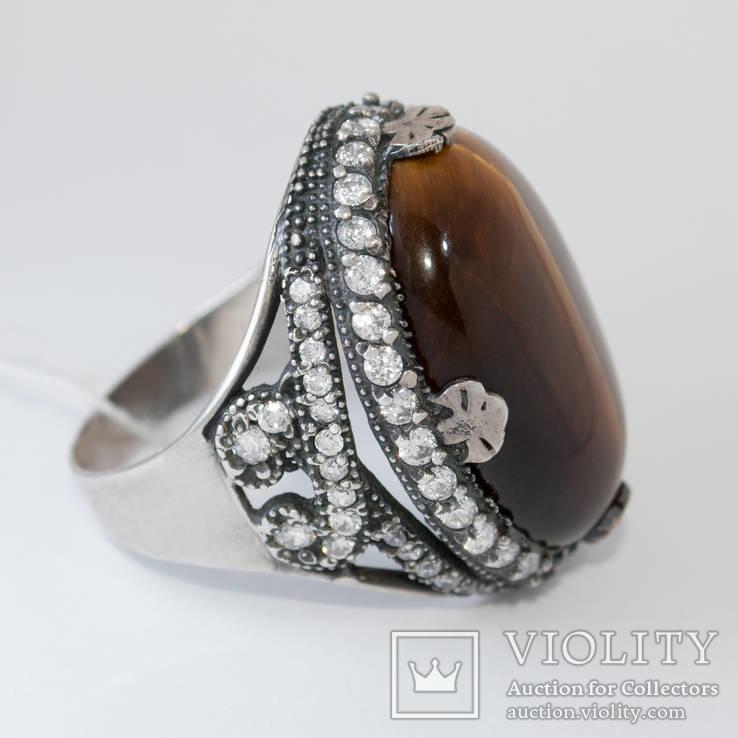 Серебряное кольцо с ''тигровым глазом'' и цирконами, фото №2
