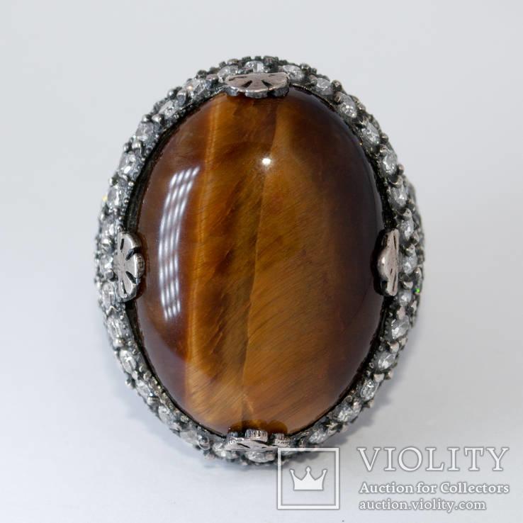 Серебряное кольцо с ''тигровым глазом'' и цирконами, фото №4