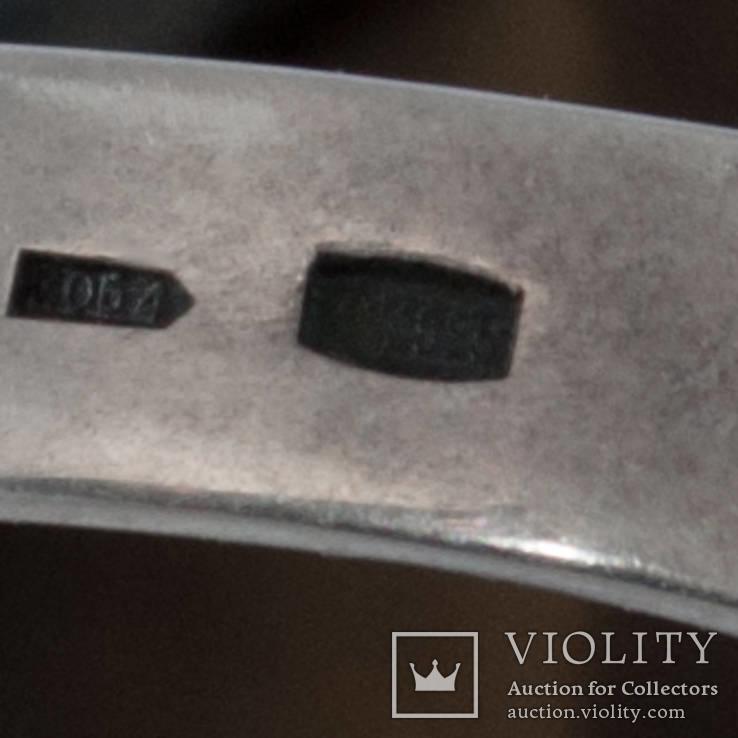 Серебряное кольцо с ''тигровым глазом'' и цирконами, фото №6