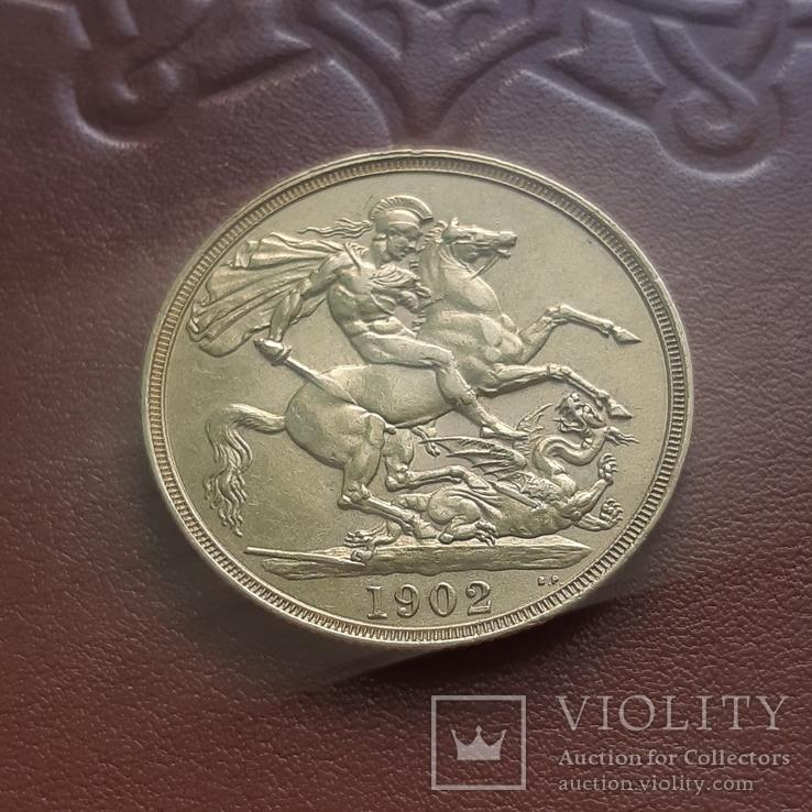 Золото  2 фунта соверена 1902 г, фото №9