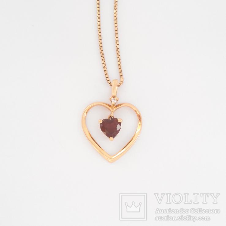 Винтажная золотая подвеска ''сердце'' с натуральным гранатом на цепочке, фото №2